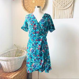 J crew floral wrap v neck  mini dress